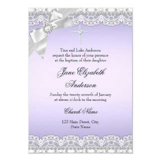 Het elegante Paarse Doopsel van het Kant van de 12,7x17,8 Uitnodiging Kaart
