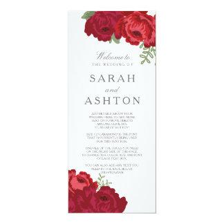 Het elegante Programma van het Huwelijk van de 10,2x23,5 Uitnodiging Kaart