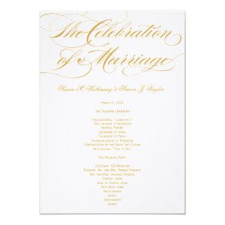 Het elegante Programma van het Huwelijk van het 12,7x17,8 Uitnodiging Kaart