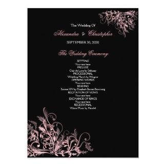 Het elegante Retro Roze Programma van het Huwelijk 16,5x22,2 Uitnodiging Kaart