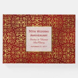 Het elegante Rode en Gouden 50ste Boek van de Gast