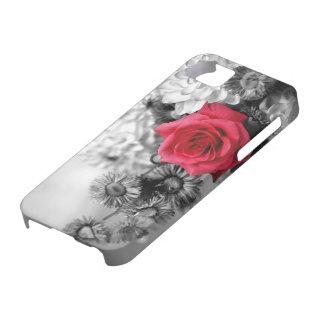 Het elegante Rood nam met Zwarte & Witte achtergro Barely There iPhone 5 Hoesje