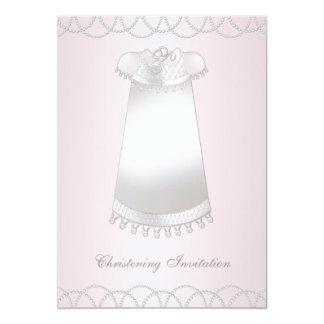 Het Elegante Roze Doopsel van meisjes 12,7x17,8 Uitnodiging Kaart