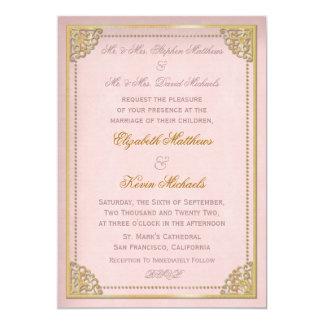 Het elegante Roze Huwelijk Goldtone van de Vintage Kaart