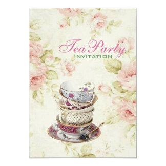 het elegante Roze nam Bloemen vintage Bruids Kaart
