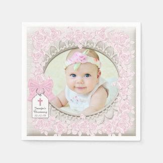 Het elegante Roze nam het Doopsel van de Foto toe Papieren Servet