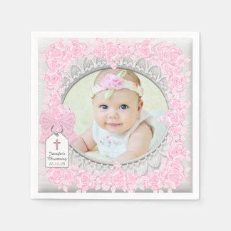 Het elegante Roze nam het Doopsel van de Foto toe Wegwerp Servet