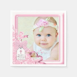 Het elegante Roze nam het Doopsel van de Foto toe Wegwerp Servetten