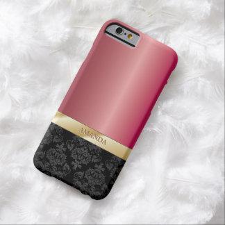 Het elegante Roze van het Koraal van het Damast Barely There iPhone 6 Hoesje