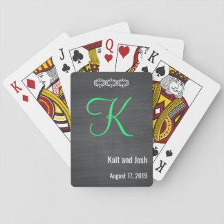 Het elegante Rustieke Zwarte Monogram van het Bord Speelkaarten