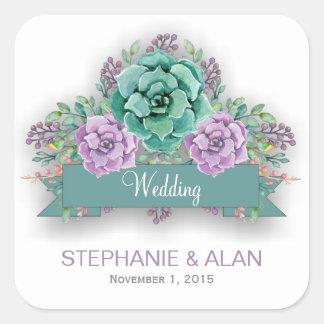 Het elegante Succulente BloemenHuwelijk van de Vierkante Sticker