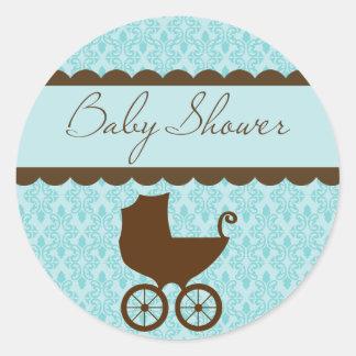 Het elegante Vervoer van het Baby shower en Blauw Ronde Sticker