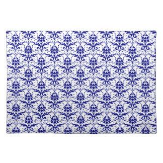 Het elegante Vintage Blauwe en Witte Patroon van Placemat