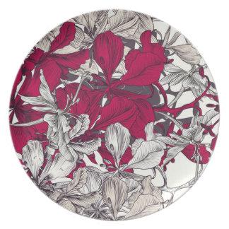 Het elegante vintage bloemen schilderen van de bord