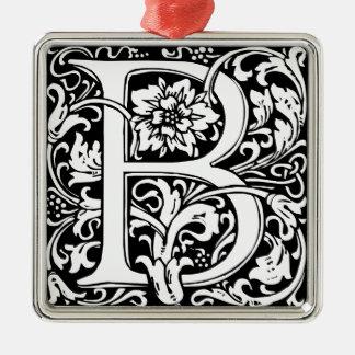 Het elegante Vintage BloemenMonogram van de Brief Zilverkleurig Vierkant Ornament