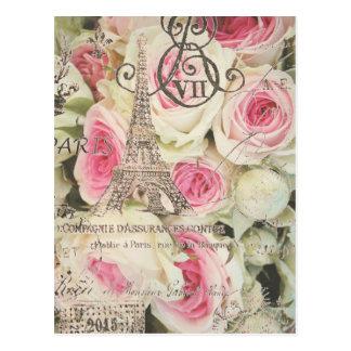 Het elegante Vintage BloemenRoze van Parijs nam Briefkaart