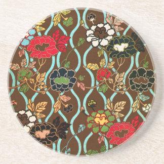 Het elegante Vintage Japanse BloemenOnderzetter Zandsteen Onderzetter