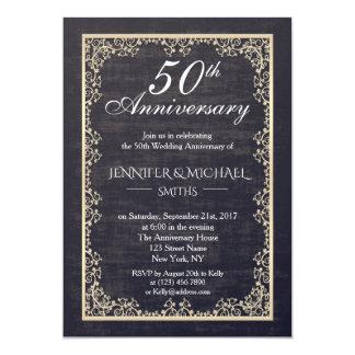 Het elegante Vintage Jubileum van het Huwelijk Kaart