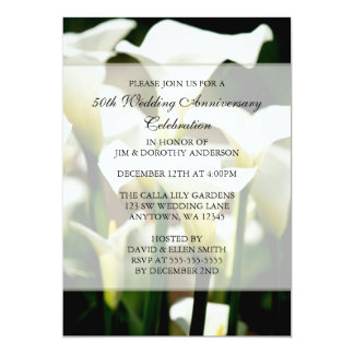 Het elegante Witte Calla Jubileum van het Huwelijk 12,7x17,8 Uitnodiging Kaart