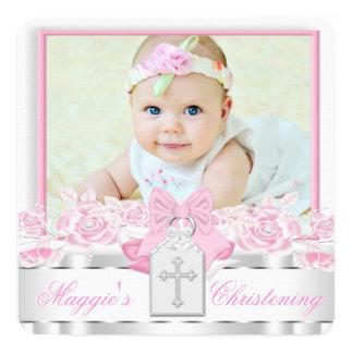 Het elegante Witte Dwars Roze Doopsel van de Foto 13,3x13,3 Vierkante Uitnodiging Kaart