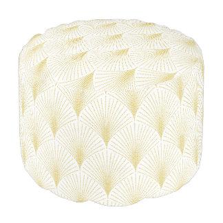 Het elegante Witte & Gouden Geometrische Patroon Poef