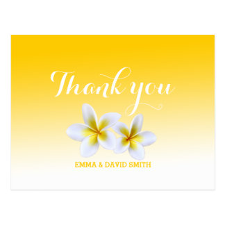 Het elegante Witte Thema Frangipani dankt u Briefkaart