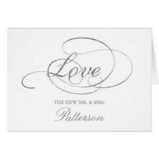 Het elegante Zilveren Huwelijk van de Folie Faux Briefkaarten 0