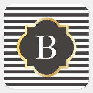 Het elegante Zwart-witte Gouden Monogram van de Vierkante Stickers