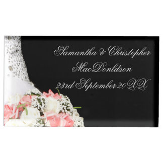 Het elegante zwart-witte roze nam huwelijk toe tafelkaart houder