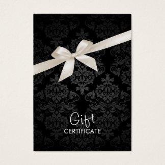 Het elegante Zwarte Certificaat van de Gift van Visitekaartjes