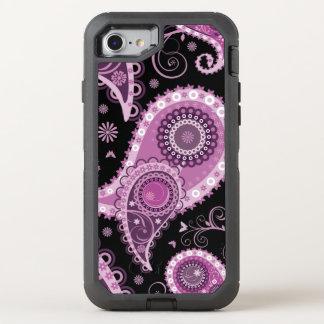 Het elegante zwarte en roze Patroon van Paisley OtterBox Defender iPhone 7 Hoesje