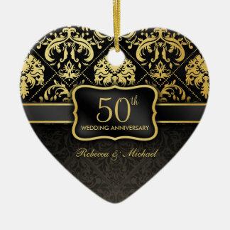 Het elegante Zwarte & Gouden 50ste Jubileum van he Keramisch Hart Ornament