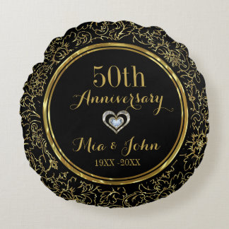 Het elegante Zwarte & Gouden 50ste Jubileum van Rond Kussen