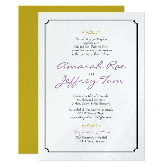 Het elegante Zwarte Huwelijk van de Grens nodigt 12,7x17,8 Uitnodiging Kaart