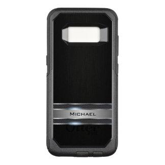 Het elegante Zwarte Leer en het Zilveren Etiket OtterBox Commuter Samsung Galaxy S8 Hoesje