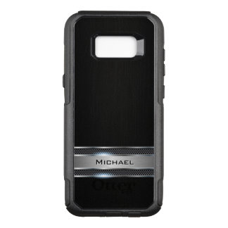 Het elegante Zwarte Leer en het Zilveren Etiket OtterBox Commuter Samsung Galaxy S8+ Hoesje