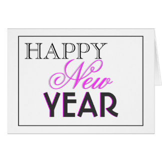 """Het elegante zwarte roze van het """"Nieuwjaar"""" Wenskaart"""