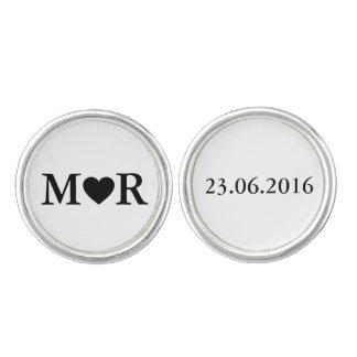 Het elegante Zwarte Wit van het Modieuze Monogram Manchetknopen