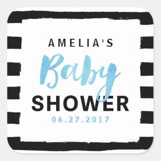 Het elegante Zwarte & Witte Blauwe Baby shower van Vierkant Stickers