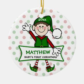 Het Elf van de baby van 1st Kerstmis (brunette) Rond Keramisch Ornament