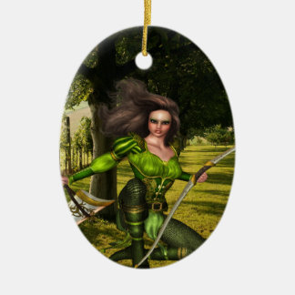 Het Elf van de schutter Keramisch Ovaal Ornament