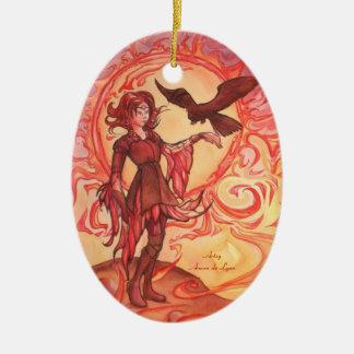 Het Elf van de zon Keramisch Ovaal Ornament