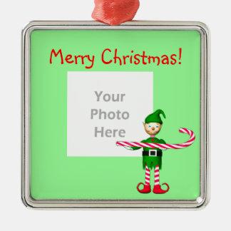 Het Elf van het Riet van het Snoep van Kerstmis Zilverkleurig Vierkant Ornament