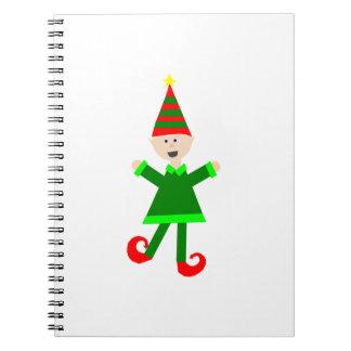 Het Elf van Kerstmis met het Groene en Rode Ringband Notitieboek