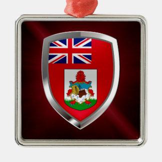 Het Embleem van de Bermudas Mettalic Zilverkleurig Vierkant Ornament