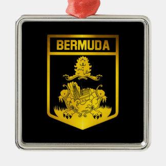 Het Embleem van de Bermudas Zilverkleurig Vierkant Ornament