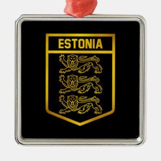 Het Embleem van Estland Zilverkleurig Vierkant Ornament