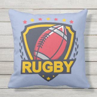 Het Embleem van het rugby in Donkerblauwe Rood en Buitenkussen