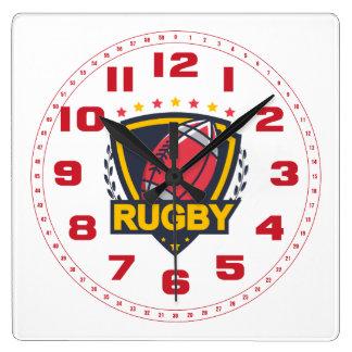 Het Embleem van het rugby in Donkerblauwe Rood en Vierkante Klok
