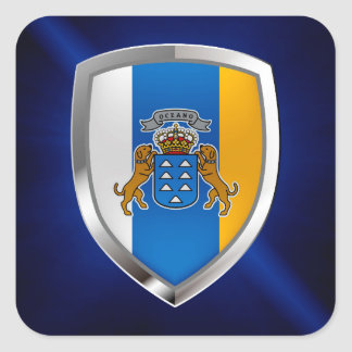 Het Embleem van Mettalic van Canarische Eilanden Vierkante Sticker